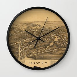 Aerial View of Le Roy, New York (1892) Wall Clock