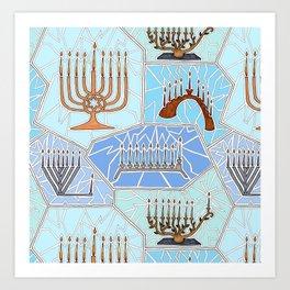 Hanukkah Menorah Mosaic in Light Blues Art Print