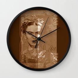 Frida Kahlo - between worlds - sepia Wall Clock