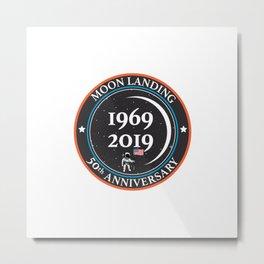 Moon landing 50th year anniversary badge Metal Print