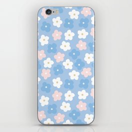Pastel pink blue hand painted modern floral iPhone Skin