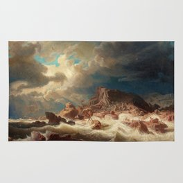 Marcus Larson - Stormy Sea With Ship Wreck Rug