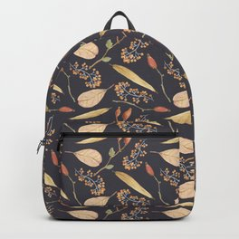 Brown orange yellow watercolor fall roses berries leaves Backpack