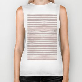 Simply Shibori Stripes Lunar Gray on Clay Pink Biker Tank