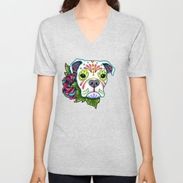 Boxer in White- Day of the Dead Sugar Skull Dog Unisex V-Neck