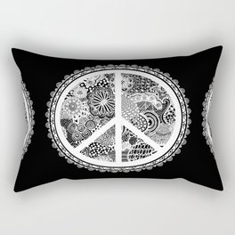 Zen Doodle Peace Symbol Black And White Rectangular Pillow