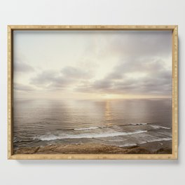 Neutral Sunset Pacific Ocean Photography, Brown Grey Seascape, California Coast Sea Landscape Serving Tray