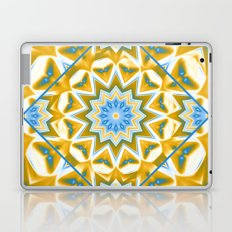 Wheel cover kaleidoscope in blue and gold Laptop & iPad Skin