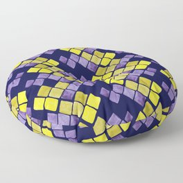Mozaic pattern in faux gold, yellow, purple and navy indigo Floor Pillow