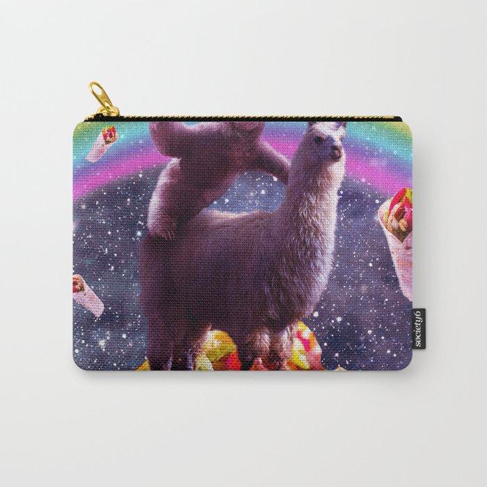 Space Sloth Riding Llama Unicorn - Taco & Burrito Carry-All Pouch