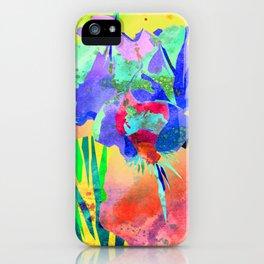 Fluorescent Watercolor Iris Art - Sun Yellow & Peach iPhone Case
