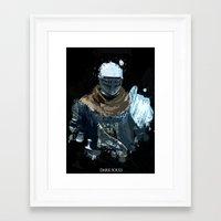 dark souls Framed Art Prints featuring Dark Souls Knight Splatter by 666HUGHES