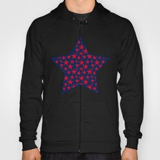Red stars on bold blue background illustration Hoody