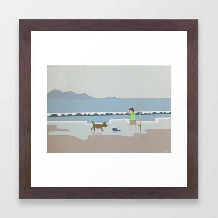 Fish And Dog Beach Wall Art Nursery Decor For Boys Room Framed Print