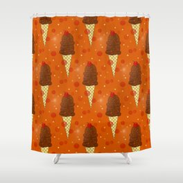 Chocolate Scoops Pattern Shower Curtain