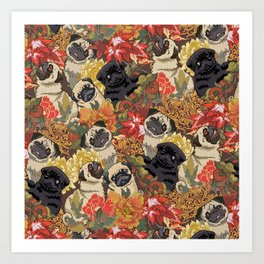 Because Pugs Autumn Art Print