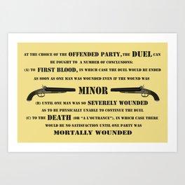 Duel Rules Art Print