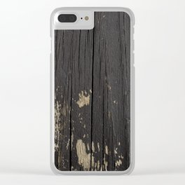 Black Wood Clear iPhone Case