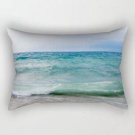 Strong waves crash over the beach Beautiful seascape. Rectangular Pillow