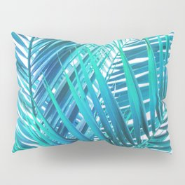 Turquoise Palm Leaves Pillow Sham