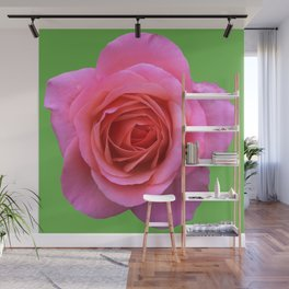 bed of roses: hot pink, neon green Wall Mural