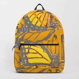 MODERN GREY ART & YELLOW MONARCH BUTTERFLIES PATTERN Backpack