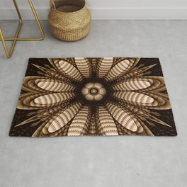 Abstract flower mandala with geometric texture Rug