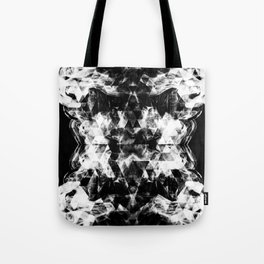 Electrifying black and white sparkly triangle flames Tote Bag