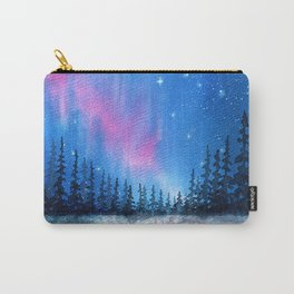 """""""Lavender Lights"""" Aurora Borealis watercolor painting Carry-All Pouch"""