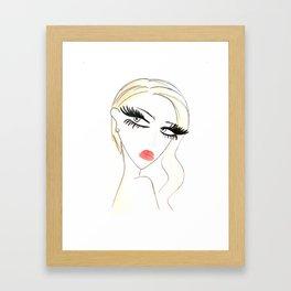Red Lips Blondy Framed Art Print
