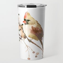 Cardinal Bird and Fall Berries Travel Mug