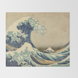 The Great Wave - Katsushika Hokusai Throw Blanket