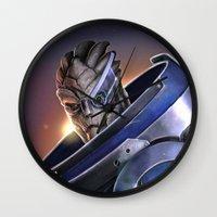 garrus Wall Clocks featuring Garrus Vakarian Portrait - Mass Effect by MarcoMellark