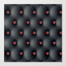 Black Leather with Red Jeweled Hearts Canvas Print