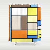 hayao miyazaki Shower Curtains featuring The Colors of / Mondrian Series - To toro - Miyazaki by hyos