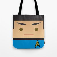 spock Tote Bags featuring SPOCK by Sam Del Valle