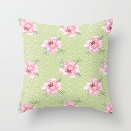 Pink peonies on blackground green Throw Pillow