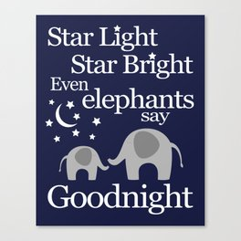 Goodnight Elephant - Nursery Art - Navy and Grey Canvas Print