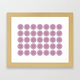 Summer in India, grey and bright pink geometric mandala flowers Framed Art Print
