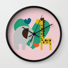 Elephant and Giraffe Pink Wall Clock