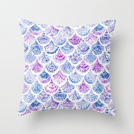 OCEAN PROTECTRESS Lavender Mermaid Scales Throw Pillow