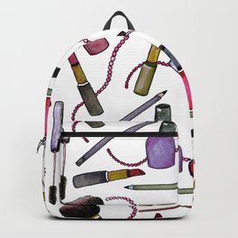Watercolor Eyes Lips Nails - repeat pattern Backpack