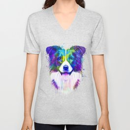 Border Collie watercolor, Watercolor Border Collie, Watercolor dog, Border Collie portrait Unisex V-Neck