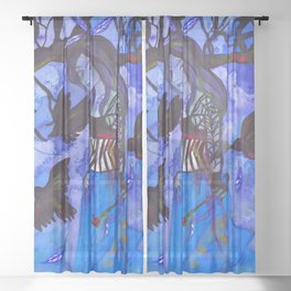Ravenwitch - Shades of Blue Sheer Curtain