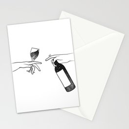 Wine connecting people. Stationery Cards