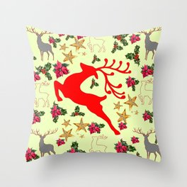DECORATIVE LEAPING RED DEER  & HOLY BERRIES CHRISTMAS  ART Throw Pillow