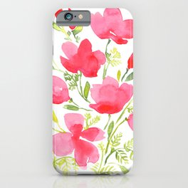 Pink watercolor California poppies bouquet iPhone Case