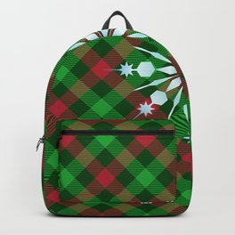 Christmas Plaid Blue Snowflake With Star Design Buffalo Plaid Winter Xmas (diagonal red and green) Backpack