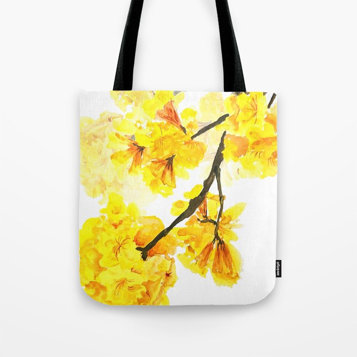 yellow trumpet trees watercolor yellow roble flowers yellow Tabebuia Tote Bag
