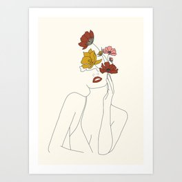 Colorful Thoughts Minimal Line Art Woman with Flowers Art Print
